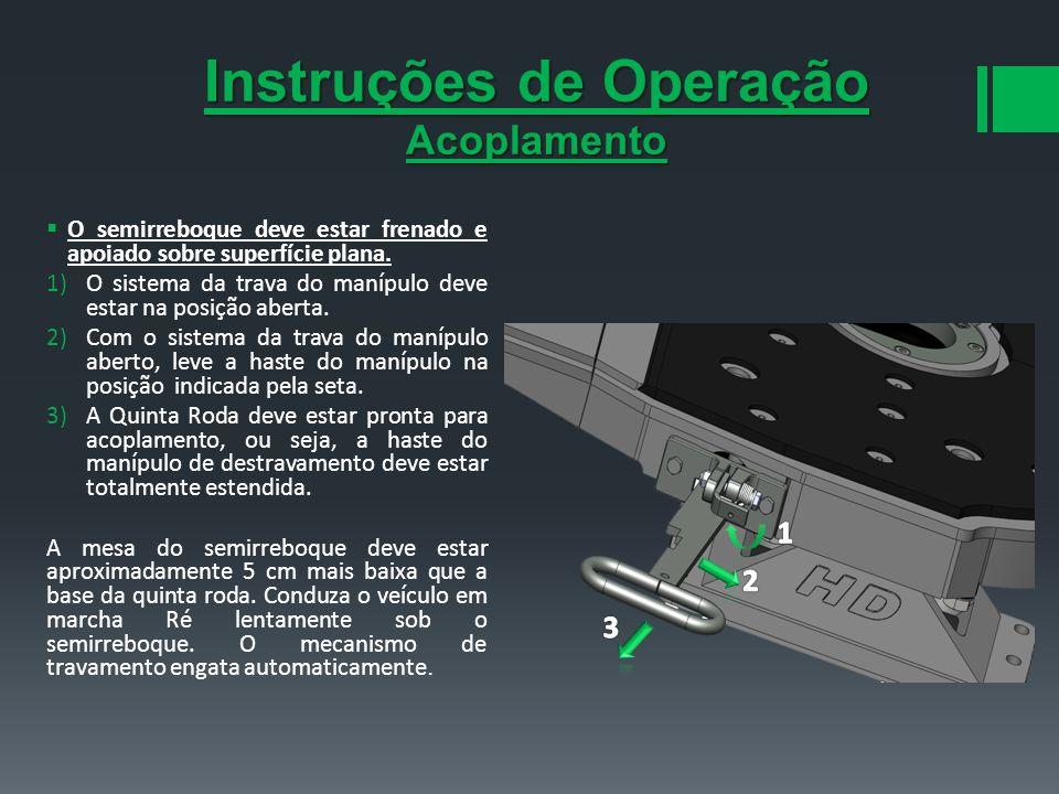 Instruções de Operação Acoplamento O semirreboque deve estar frenado e apoiado sobre superfície plana. 1)O sistema da trava do manípulo deve estar na