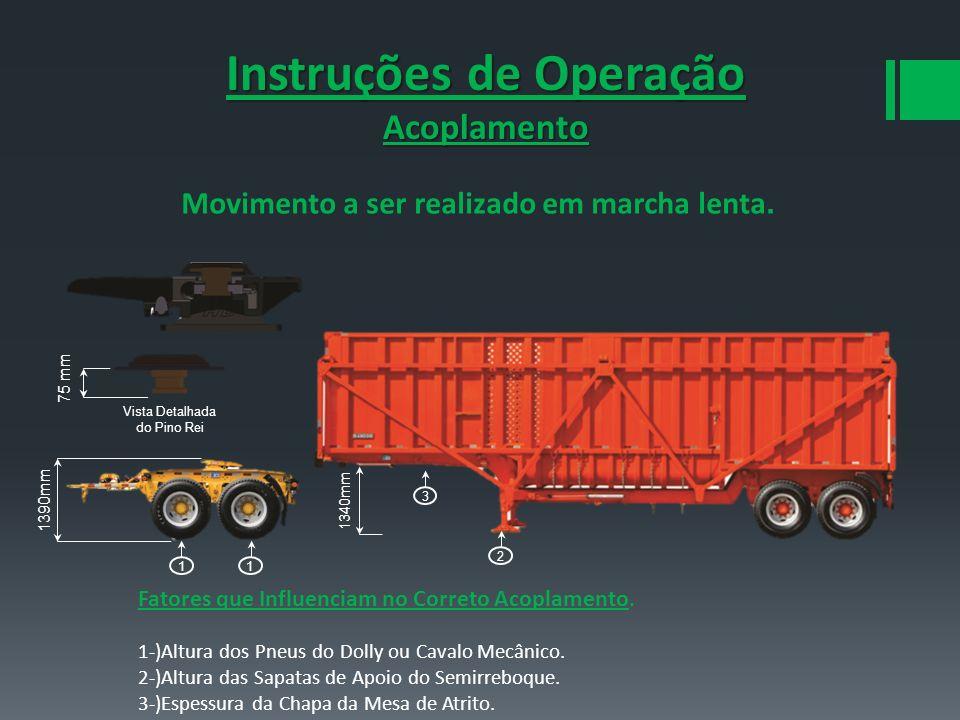 Instruções de Operação Acoplamento Movimento a ser realizado em marcha lenta. 75 mm 1390mm 1340mm Vista Detalhada do Pino Rei 1 3 1 2 Fatores que Infl