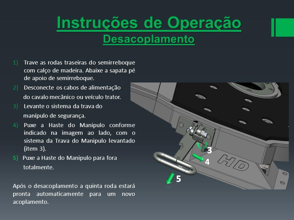 Instruções de Operação Desacoplamento 1)Trave as rodas traseiras do semirreboque com calço de madeira. Abaixe a sapata pé de apoio de semirreboque. 2)