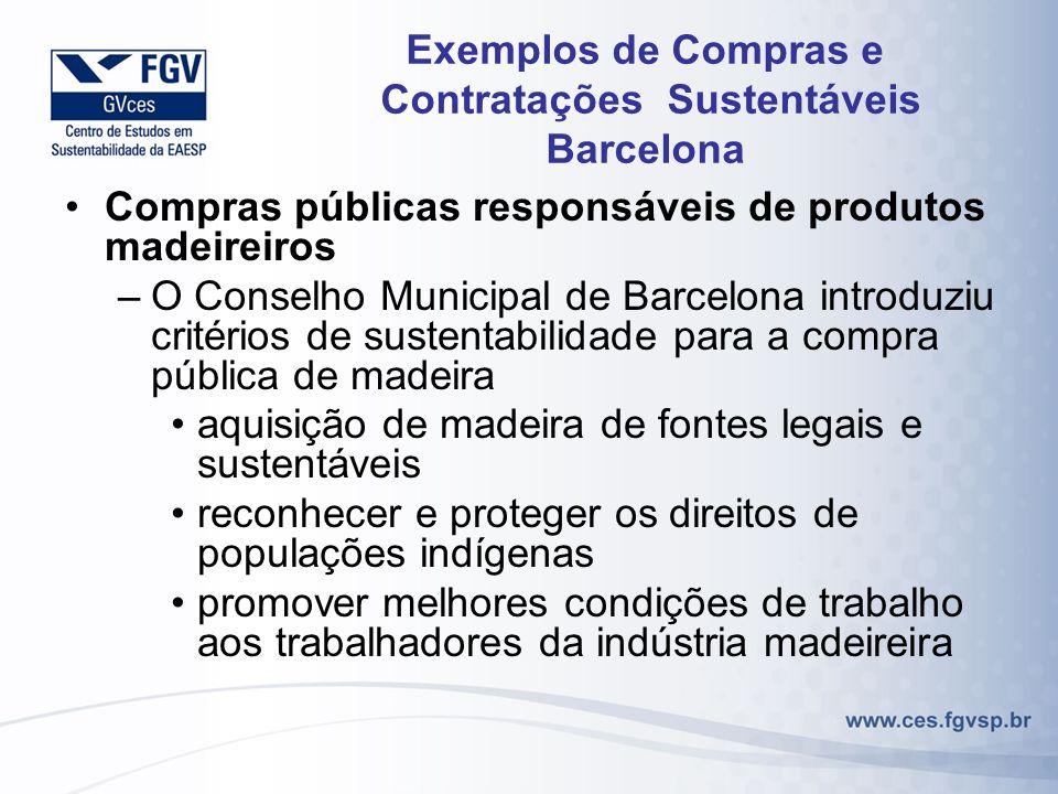Exemplos de Compras e Contratações Sustentáveis Barcelona Compras públicas responsáveis de produtos madeireiros –O Conselho Municipal de Barcelona int
