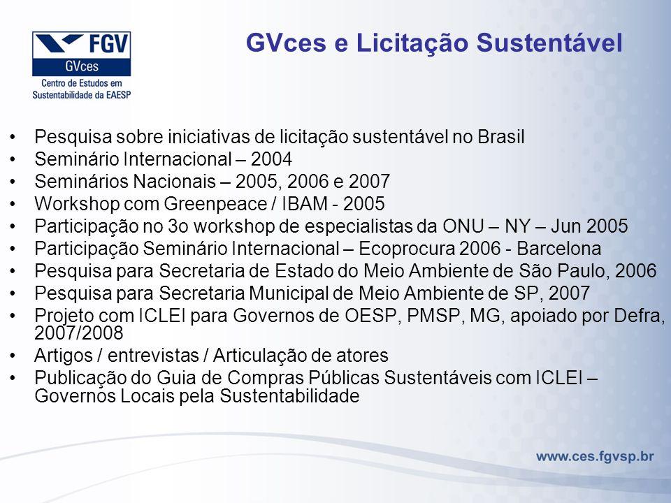 GVces e Licitação Sustentável Pesquisa sobre iniciativas de licitação sustentável no Brasil Seminário Internacional – 2004 Seminários Nacionais – 2005