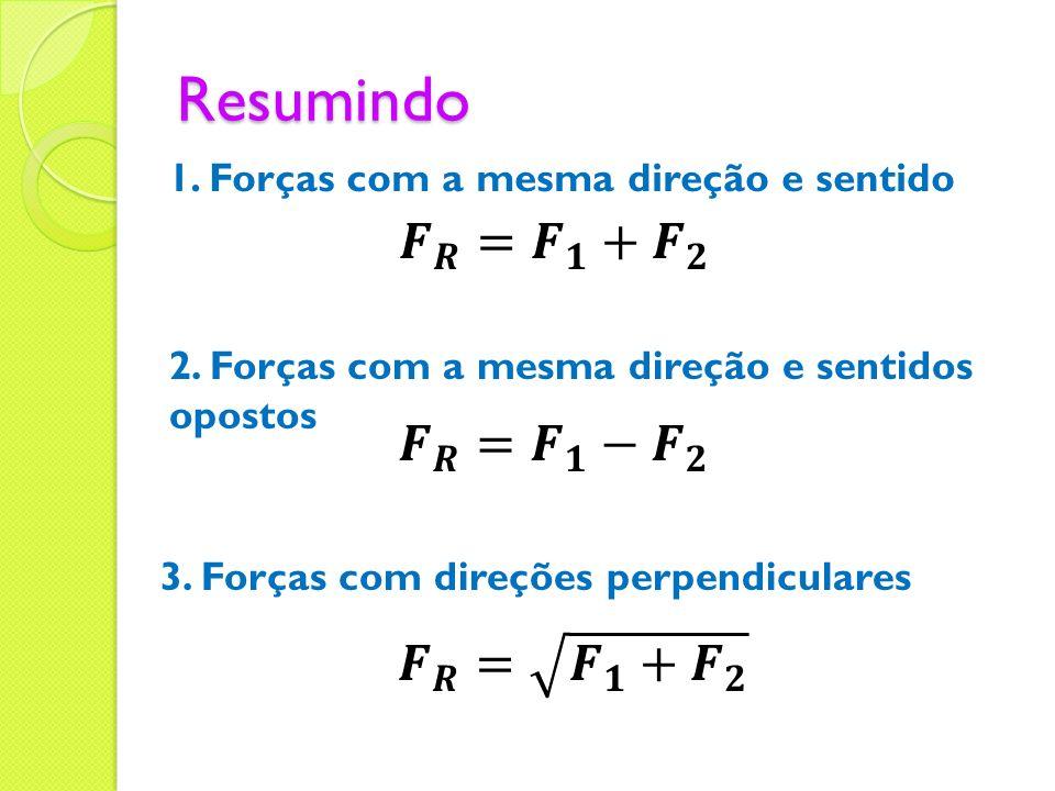 Resumindo 1. Forças com a mesma direção e sentido 2. Forças com a mesma direção e sentidos opostos 3. Forças com direções perpendiculares