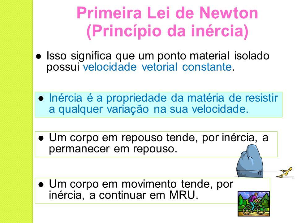 Primeira Lei de Newton (Princípio da inércia) Isso signica que um ponto material isolado possui velocidade vetorial constante. Um corpo em repouso ten