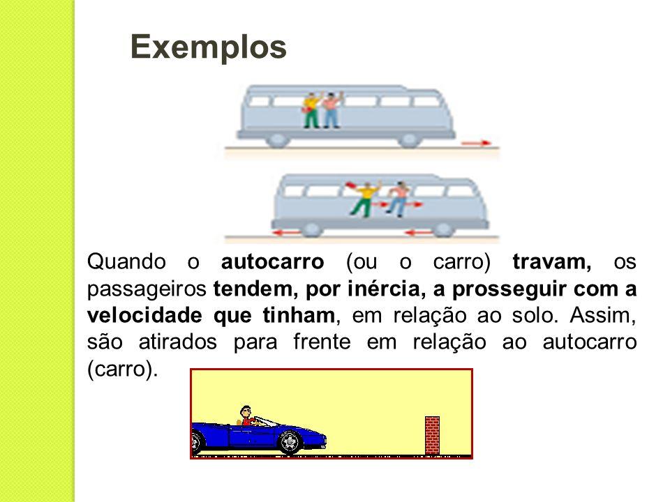 Exemplos Quando o autocarro (ou o carro) travam, os passageiros tendem, por inércia, a prosseguir com a velocidade que tinham, em relação ao solo. Ass