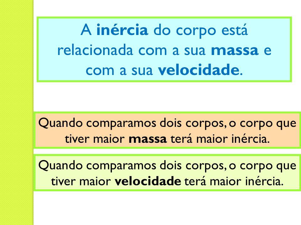 A inércia do corpo está relacionada com a sua massa e com a sua velocidade. Quando comparamos dois corpos, o corpo que tiver maior massa terá maior in