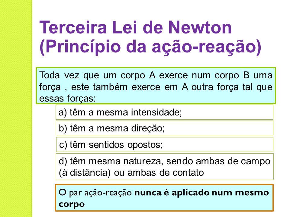 Terceira Lei de Newton (Princípio da ação-reação) Toda vez que um corpo A exerce num corpo B uma força, este também exerce em A outra força tal que es