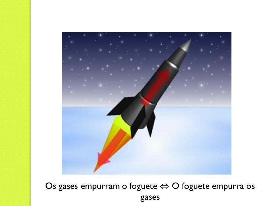 Os gases empurram o foguete O foguete empurra os gases
