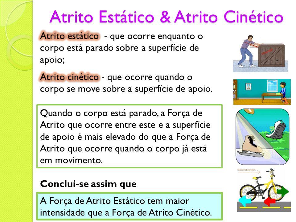 Atrito Estático & Atrito Cinético Quando o corpo está parado, a Força de Atrito que ocorre entre este e a superfície de apoio é mais elevado do que a