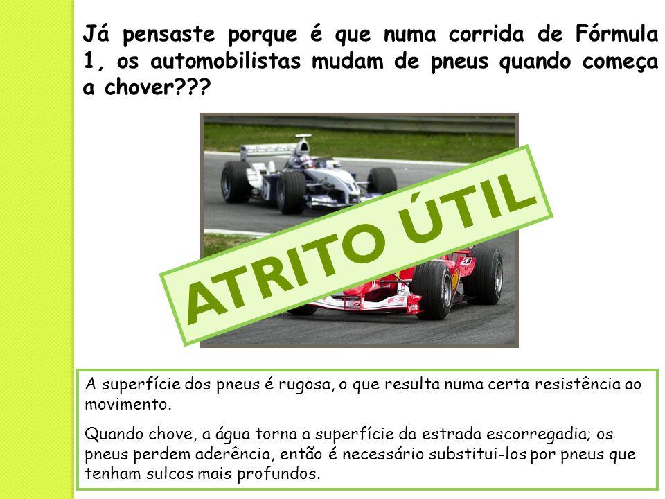 Já pensaste porque é que numa corrida de Fórmula 1, os automobilistas mudam de pneus quando começa a chover??? A superfície dos pneus é rugosa, o que