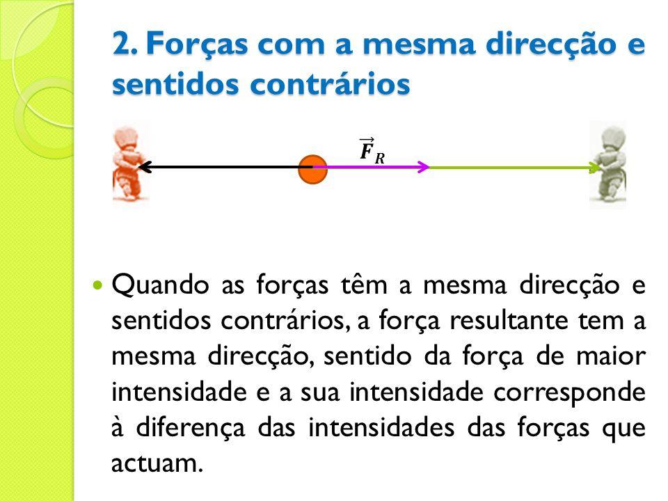 Quando as forças têm a mesma direcção e sentidos contrários, a força resultante tem a mesma direcção, sentido da força de maior intensidade e a sua in
