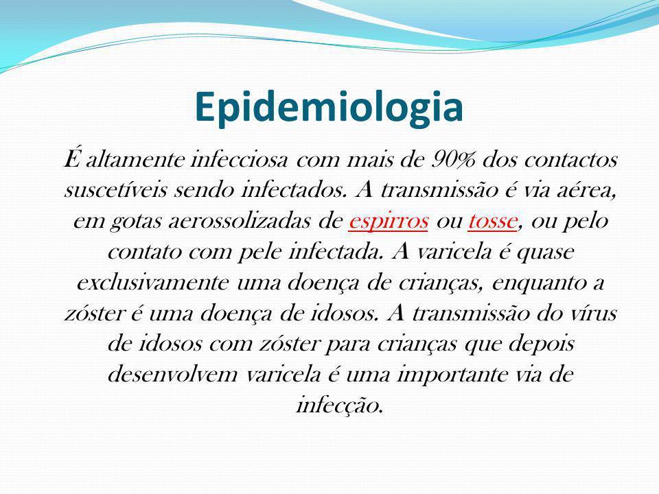 Epidemiologia É altamente infecciosa com mais de 90% dos contactos suscetíveis sendo infectados. A transmissão é via aérea, em gotas aerossolizadas de