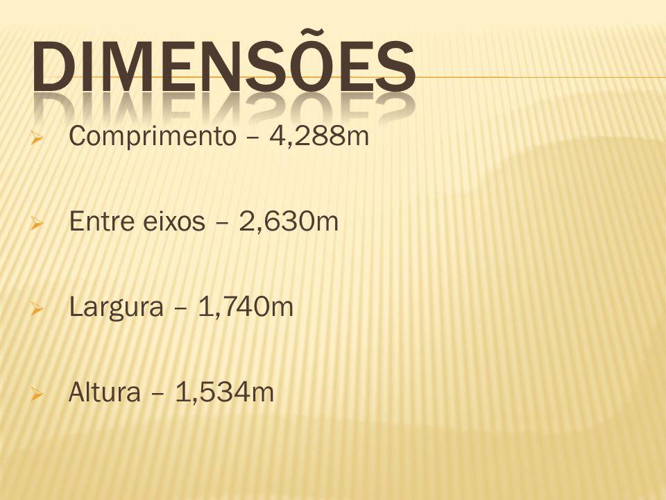 Comprimento – 4,288m Entre eixos – 2,630m Largura – 1,740m Altura – 1,534m