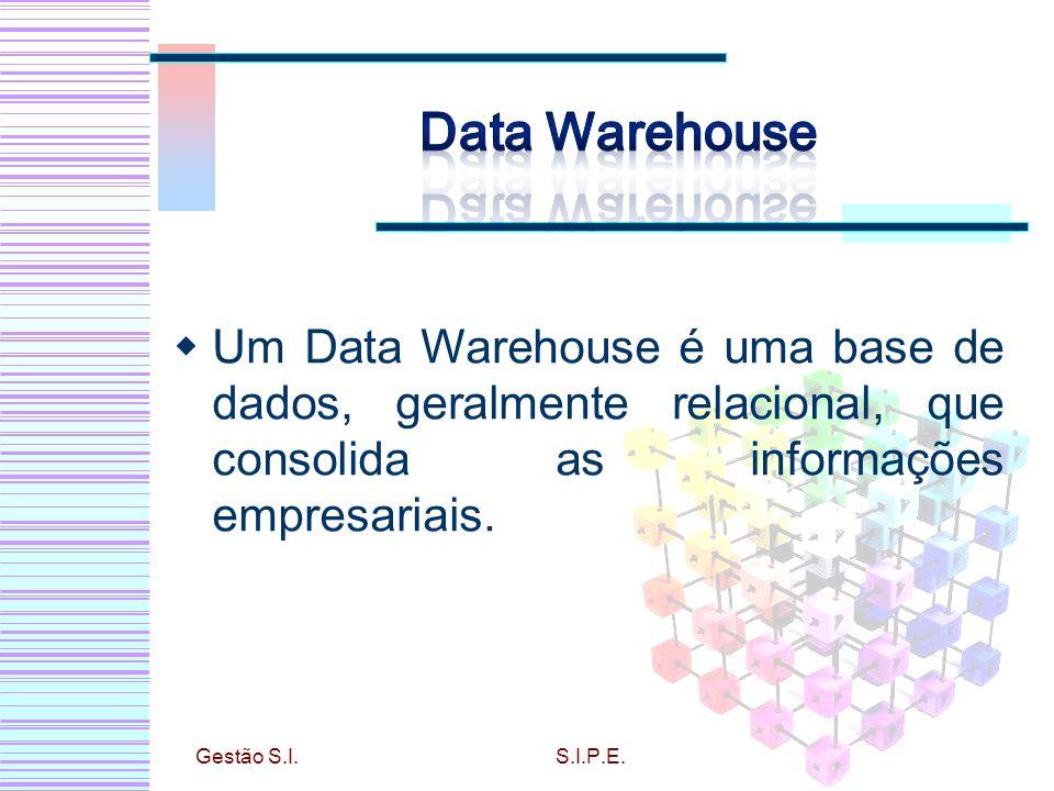 Um Data Warehouse é uma base de dados, geralmente relacional, que consolida as informações empresariais. Gestão S.I.S.I.P.E.