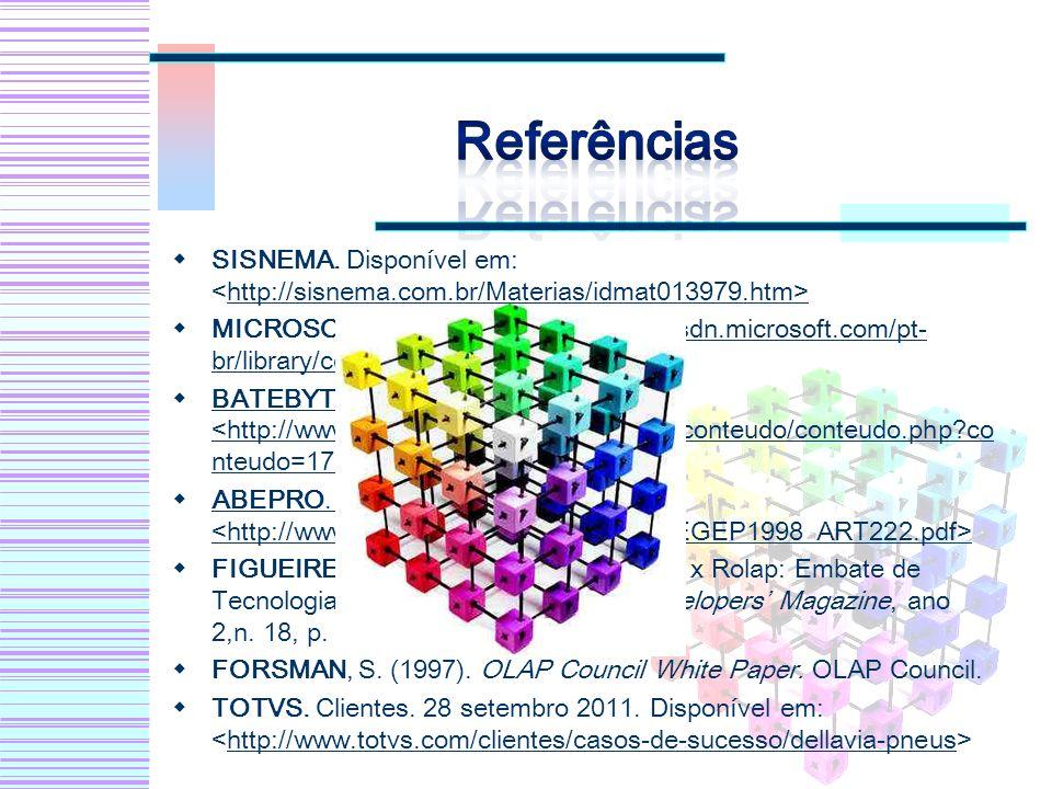 SISNEMA. Disponível em: http://sisnema.com.br/Materias/idmat013979.htm MICROSOFT. Disponível em: http://msdn.microsoft.com/pt- br/library/cc518031.asp