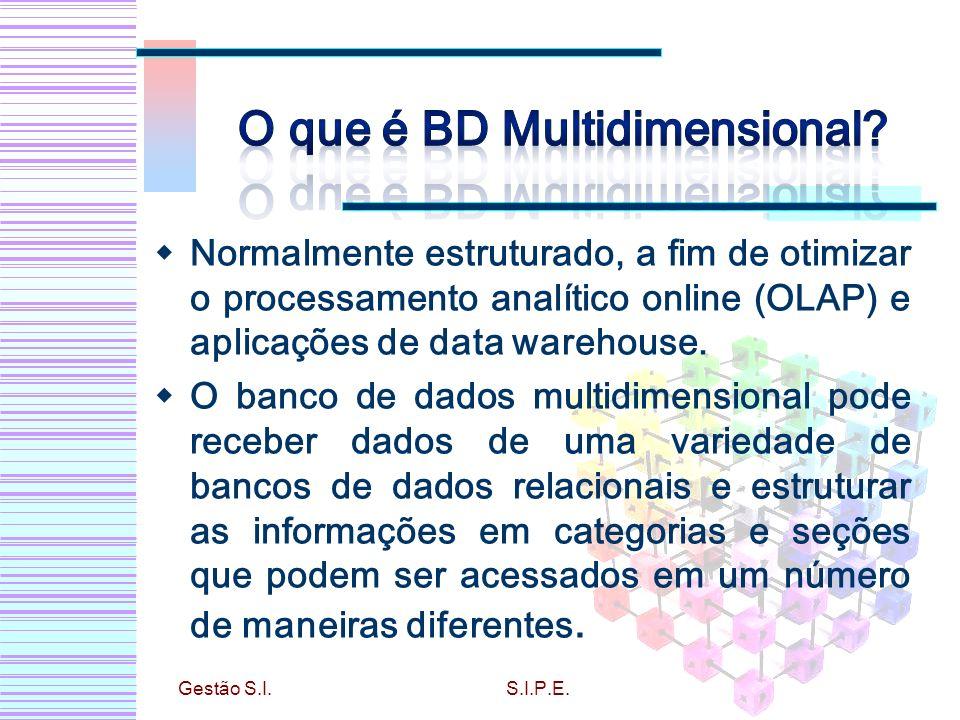 Normalmente estruturado, a fim de otimizar o processamento analítico online (OLAP) e aplicações de data warehouse. O banco de dados multidimensional p