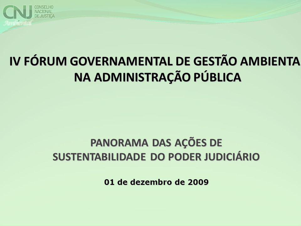 PANORAMA DAS AÇÕES DE SUSTENTABILIDADE DO PODER JUDICIÁRIO 01 de dezembro de 2009 IV FÓRUM GOVERNAMENTAL DE GESTÃO AMBIENTAL NA ADMINISTRAÇÃO PÚBLICA