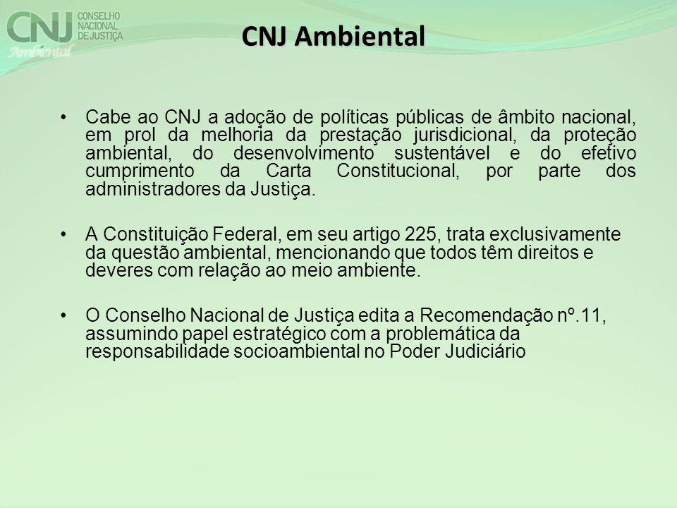 CNJ Ambiental Cabe ao CNJ a adoção de políticas públicas de âmbito nacional, em prol da melhoria da prestação jurisdicional, da proteção ambiental, do desenvolvimento sustentável e do efetivo cumprimento da Carta Constitucional, por parte dos administradores da Justiça.