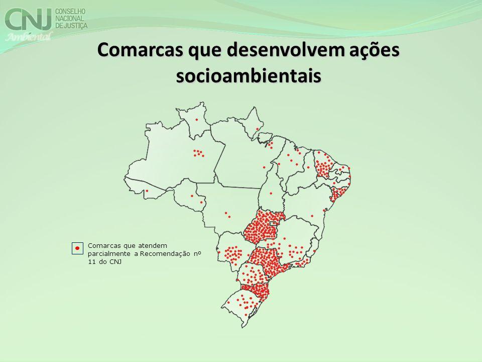 Comarcas que atendem parcialmente a Recomendação nº 11 do CNJ Comarcas que desenvolvem ações socioambientais