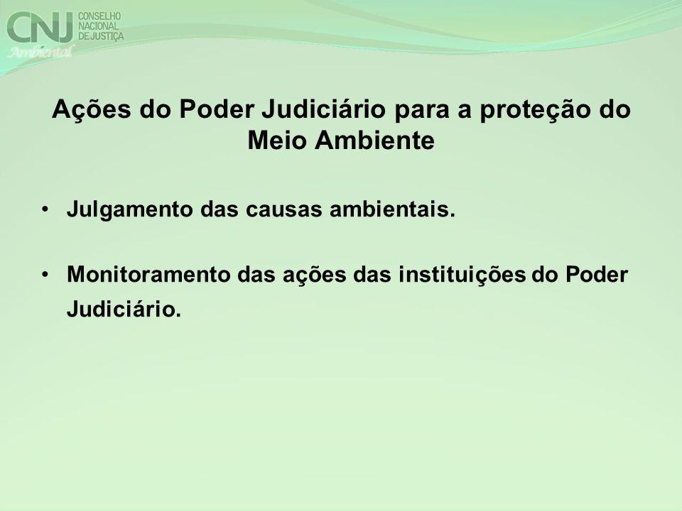 Ações do Poder Judiciário para a proteção do Meio Ambiente Julgamento das causas ambientais. Monitoramento das ações das instituições do Poder Judiciá