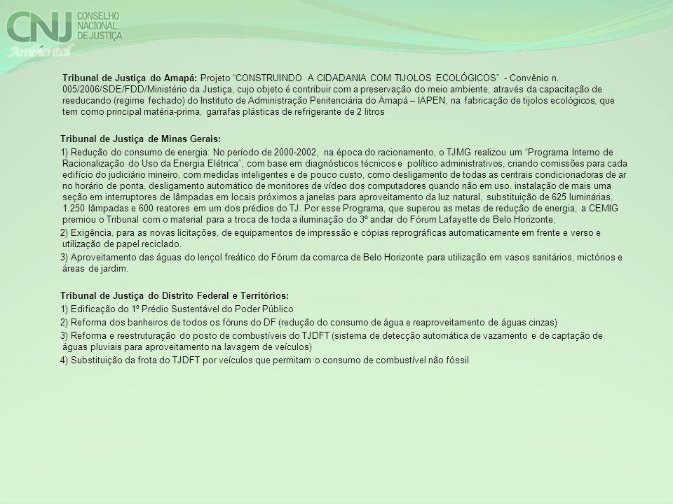Tribunal de Justiça do Amapá: Projeto CONSTRUINDO A CIDADANIA COM TIJOLOS ECOLÓGICOS - Convênio n. 005/2006/SDE/FDD/Ministério da Justiça, cujo objeto