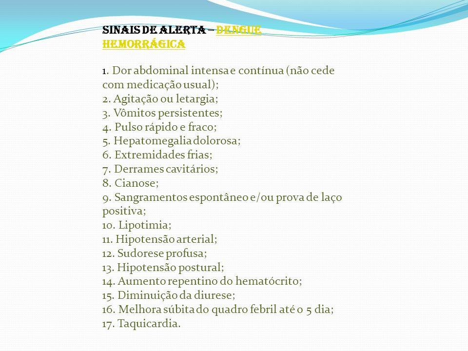 SINAIS DE ALERTA – DENGUE HEMORRÁGICADENGUE HEMORRÁGICA 1. Dor abdominal intensa e contínua (não cede com medicação usual); 2. Agitação ou letargia; 3