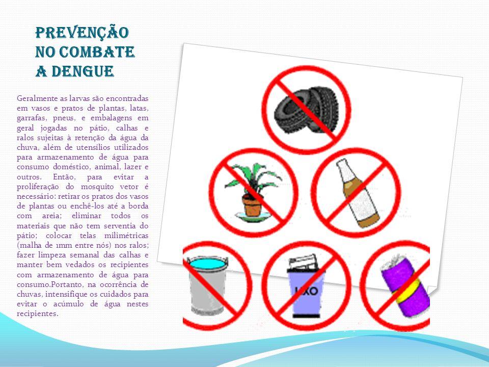 PREVENÇÃO NO COMBATE A DENGUE Geralmente as larvas são encontradas em vasos e pratos de plantas, latas, garrafas, pneus, e embalagens em geral jogadas