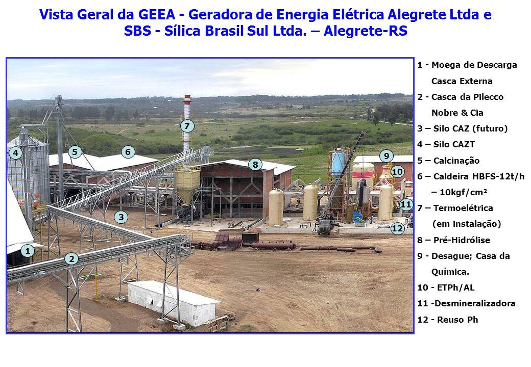 Vista Geral da GEEA - Geradora de Energia Elétrica Alegrete Ltda e SBS - Sílica Brasil Sul Ltda. – Alegrete-RS 9 2 1 3 4 56 7 8 10 11 12 1 - Moega de