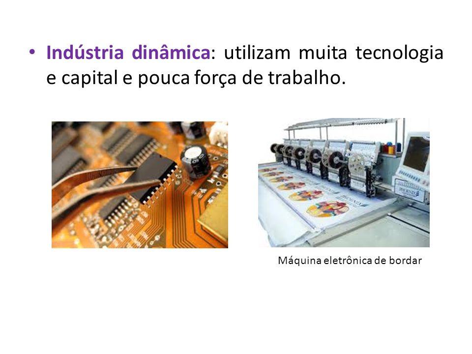 Indústria dinâmica: utilizam muita tecnologia e capital e pouca força de trabalho. Máquina eletrônica de bordar