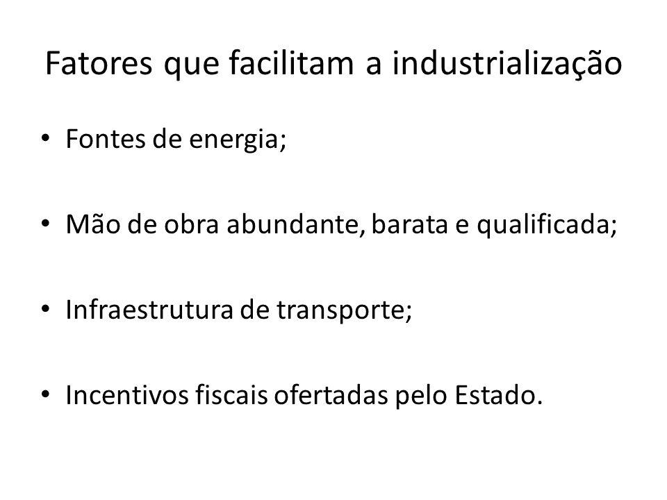 Fatores que facilitam a industrialização Fontes de energia; Mão de obra abundante, barata e qualificada; Infraestrutura de transporte; Incentivos fisc