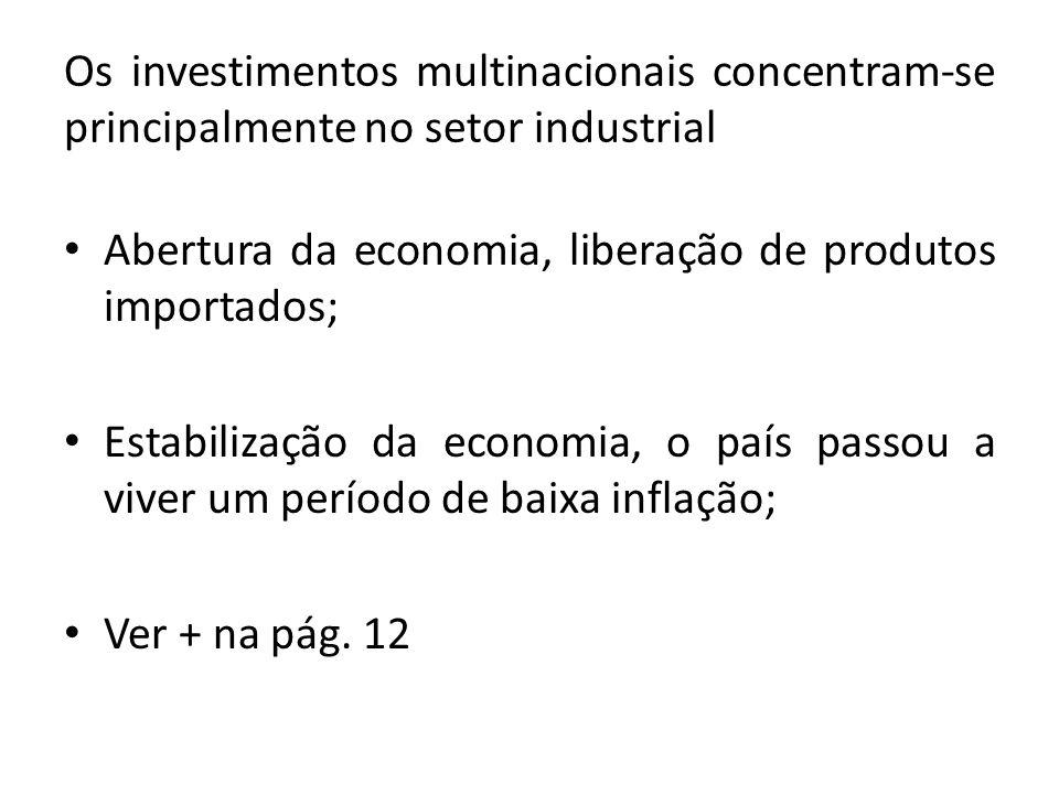 Os investimentos multinacionais concentram-se principalmente no setor industrial Abertura da economia, liberação de produtos importados; Estabilização