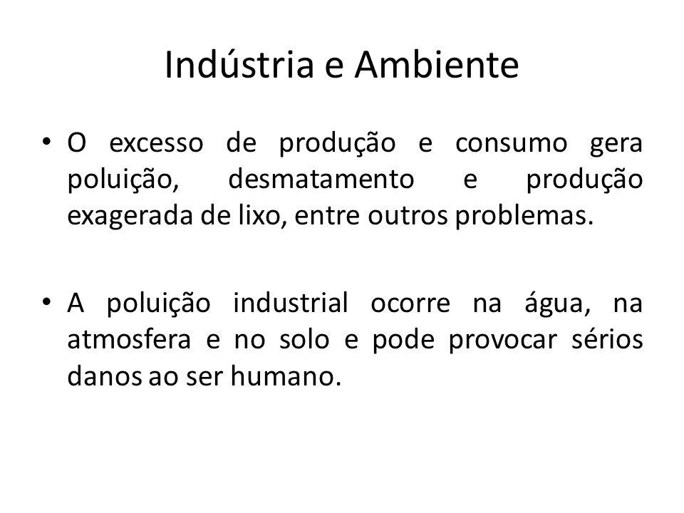 Indústria e Ambiente O excesso de produção e consumo gera poluição, desmatamento e produção exagerada de lixo, entre outros problemas. A poluição indu