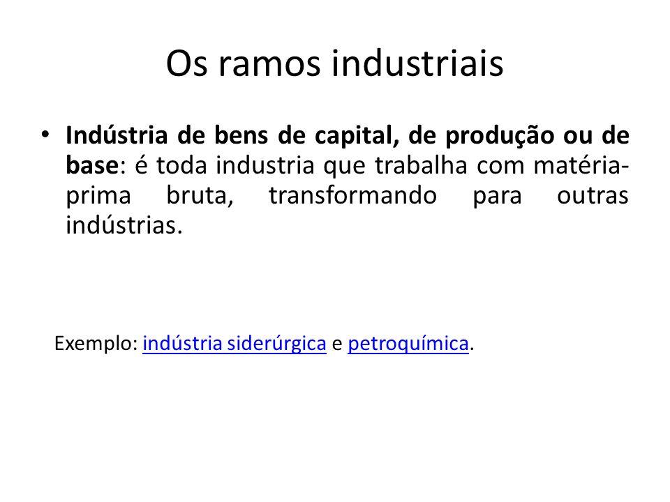 Os ramos industriais Indústria de bens de capital, de produção ou de base: é toda industria que trabalha com matéria- prima bruta, transformando para