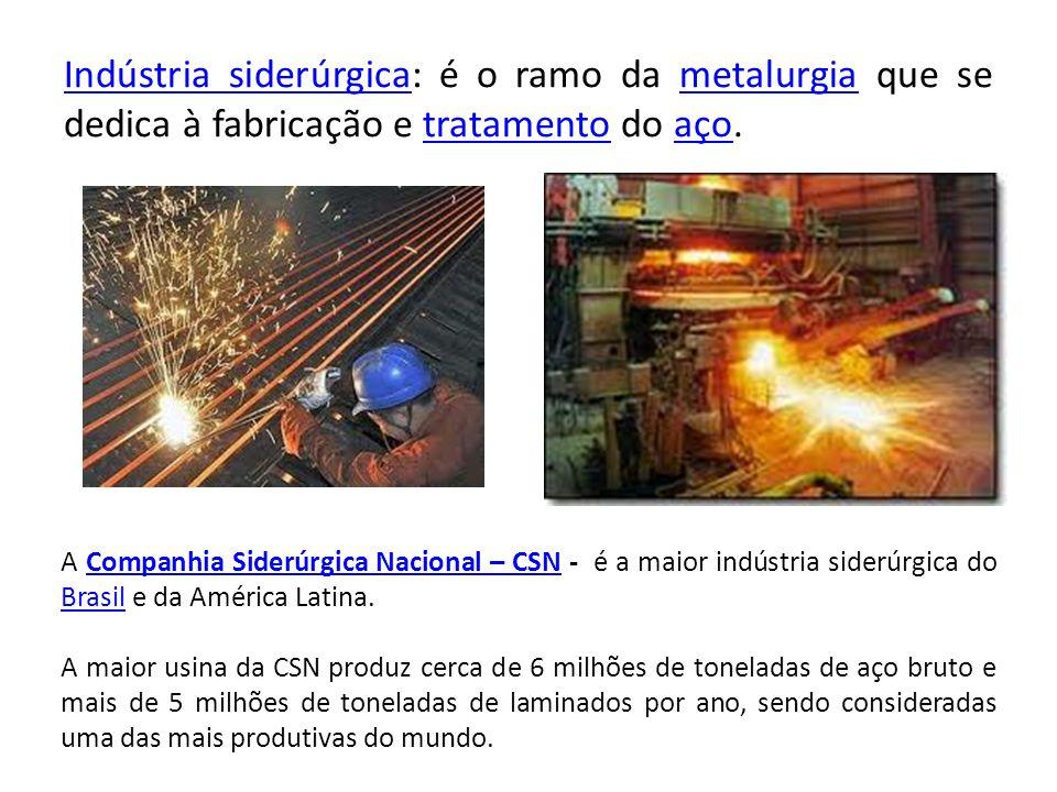 Indústria siderúrgicaIndústria siderúrgica: é o ramo da metalurgia que se dedica à fabricação e tratamento do aço.metalurgiatratamentoaço A Companhia