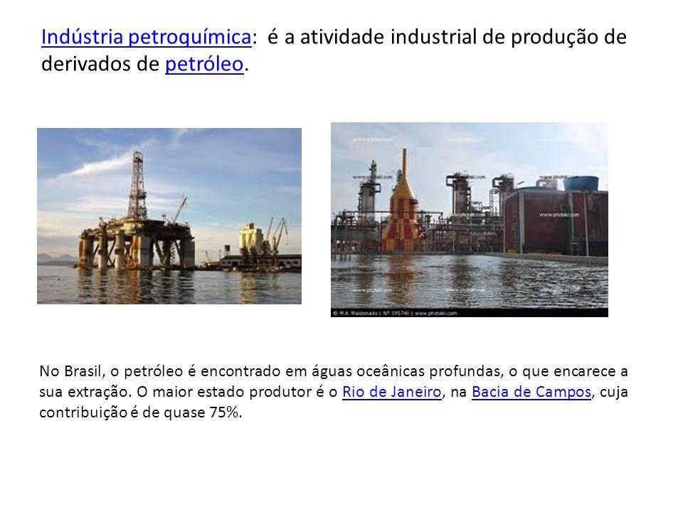 Indústria petroquímicaIndústria petroquímica: é a atividade industrial de produção de derivados de petróleo.petróleo No Brasil, o petróleo é encontrad