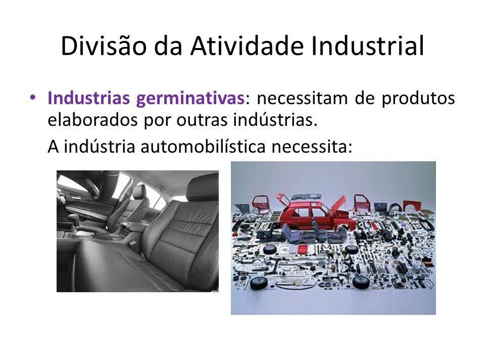 Divisão da Atividade Industrial Industrias germinativas: necessitam de produtos elaborados por outras indústrias. A indústria automobilística necessit