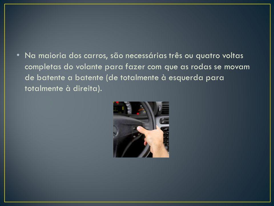 A relação de direção é a relação entre o tanto que você gira o volante e o tanto que as rodas giram.