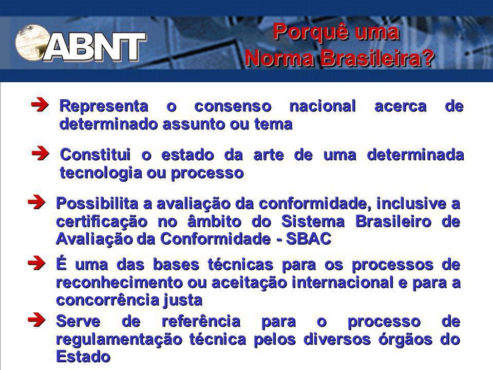 Porquê uma Norma Brasileira? Representa o consenso nacional acerca de determinado assunto ou tema Constitui o estado da arte de uma determinada tecnol