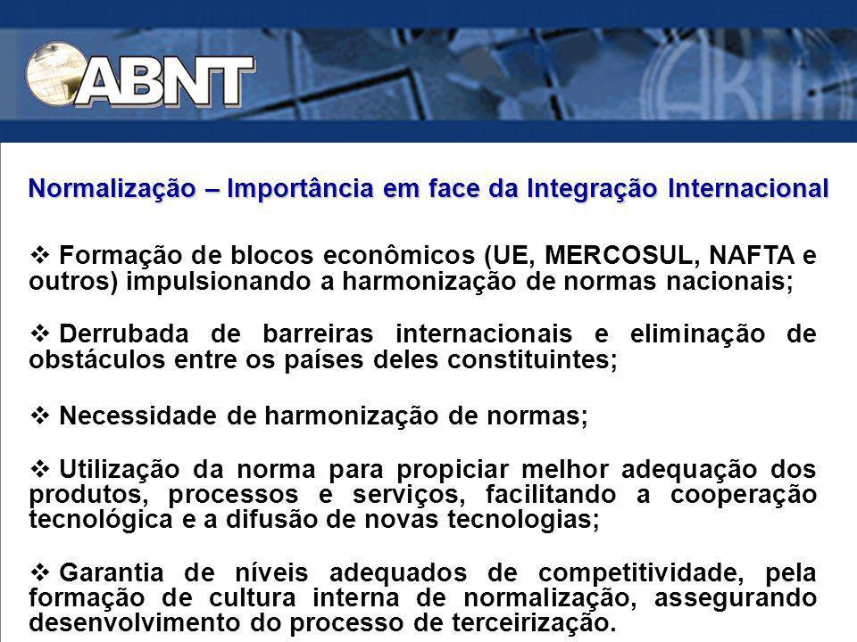 Formação de blocos econômicos (UE, MERCOSUL, NAFTA e outros) impulsionando a harmonização de normas nacionais; Derrubada de barreiras internacionais e