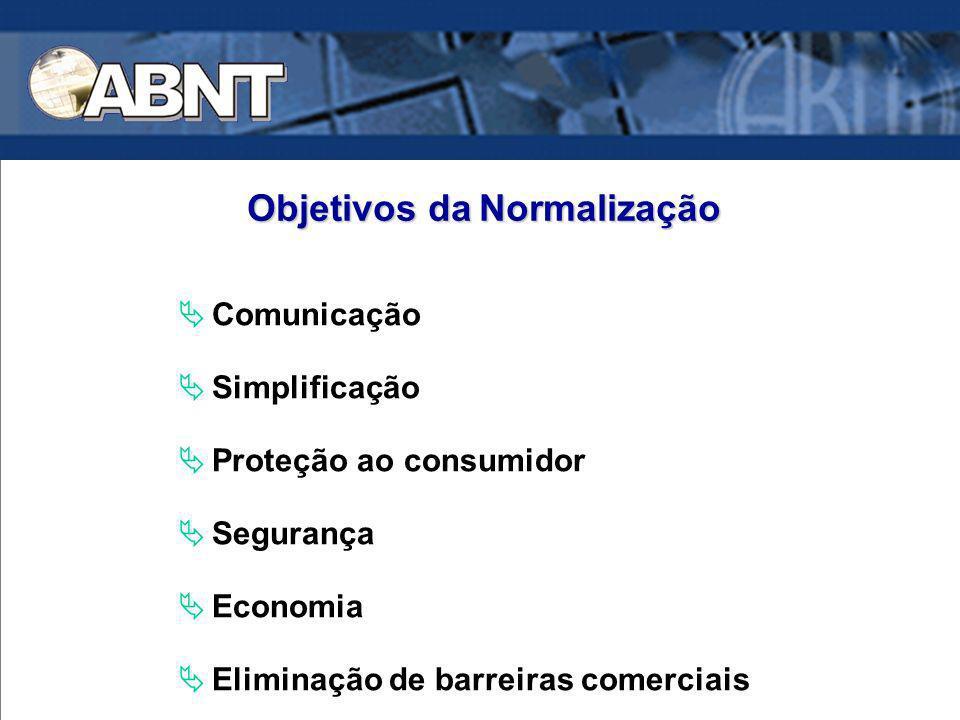 Comunicação Simplificação Proteção ao consumidor Segurança Economia Eliminação de barreiras comerciais Objetivos daNormalização Objetivos da Normaliza