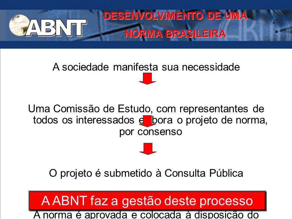 DESENVOLVIMENTO DE UMA NORMA BRASILEIRA A sociedade manifesta sua necessidade Uma Comissão de Estudo, com representantes de todos os interessados elab