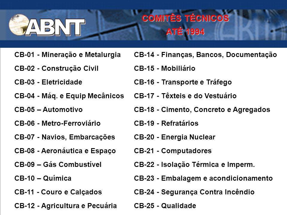 CB-01 - Mineração e Metalurgia CB-14 - Finanças, Bancos, Documentação CB-02 - Construção Civil CB-15 - Mobiliário CB-03 - Eletricidade CB-16 - Transpo