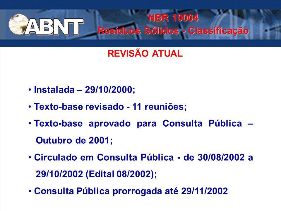 Instalada – 29/10/2000; Texto-base revisado - 11 reuniões; Texto-base aprovado para Consulta Pública – Outubro de 2001; Circulado em Consulta Pública