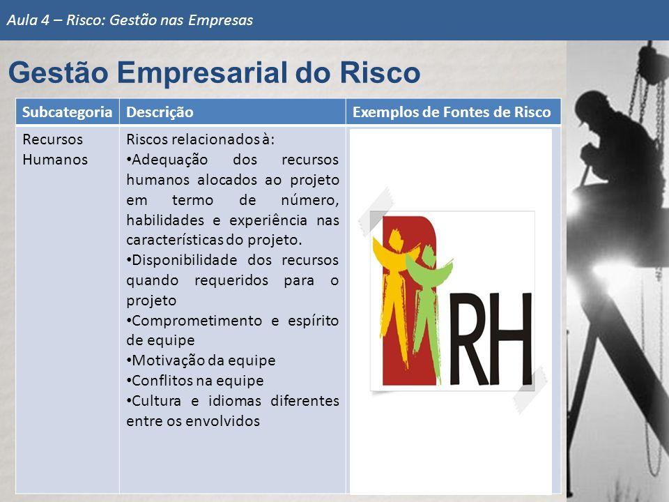 SubcategoriaDescriçãoExemplos de Fontes de Risco Recursos Humanos Riscos relacionados à: Adequação dos recursos humanos alocados ao projeto em termo d