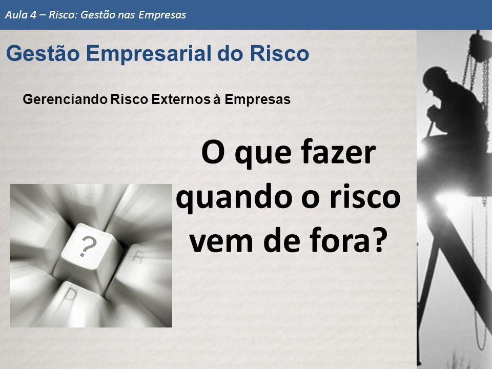 Gerenciando Risco Externos à Empresas O que fazer quando o risco vem de fora? Aula 4 – Risco: Gestão nas Empresas Gestão Empresarial do Risco