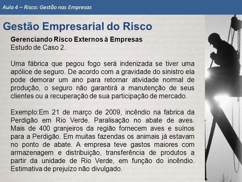 Gerenciando Risco Externos à Empresas Estudo de Caso 2.