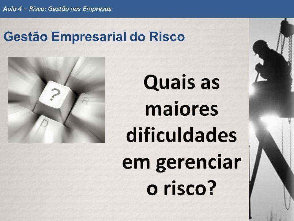 Gestão Empresarial do Risco Aula 4 – Risco: Gestão nas Empresas Quais as maiores dificuldades em gerenciar o risco?