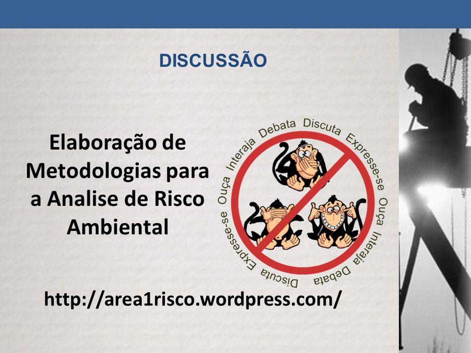 DISCUSSÃO http://area1risco.wordpress.com/ Elaboração de Metodologias para a Analise de Risco Ambiental