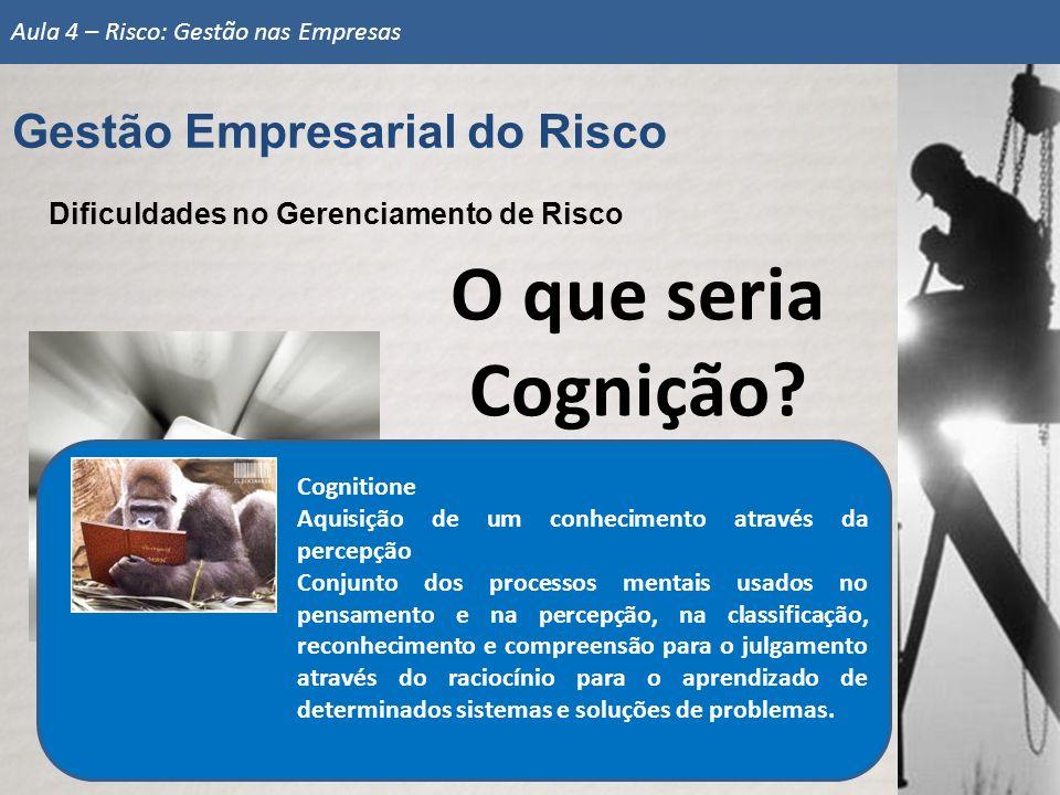 Gestão Empresarial do Risco Aula 4 – Risco: Gestão nas Empresas O que seria Cognição? Dificuldades no Gerenciamento de Risco Cognitione Aquisição de u