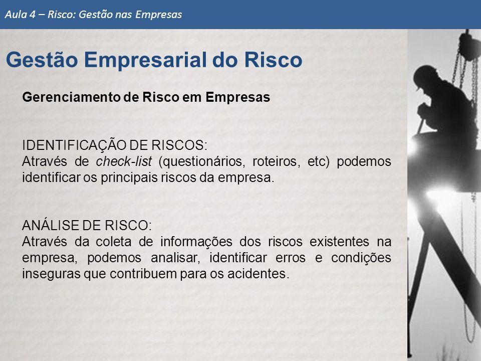 Gerenciamento de Risco em Empresas IDENTIFICAÇÃO DE RISCOS: Através de check-list (questionários, roteiros, etc) podemos identificar os principais ris