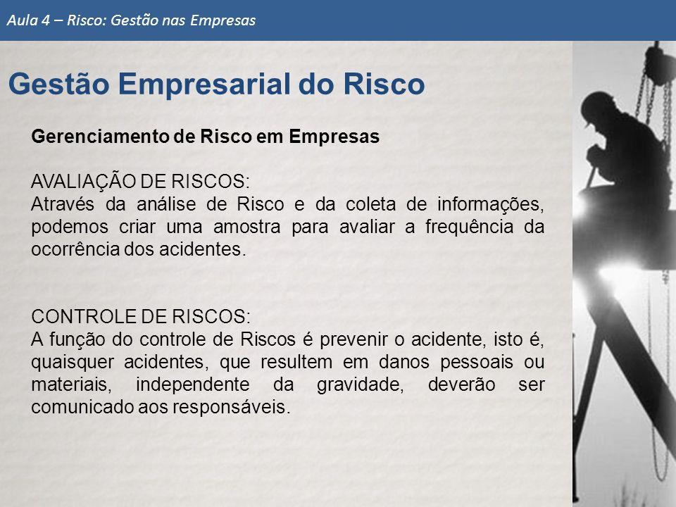 Gerenciamento de Risco em Empresas AVALIAÇÃO DE RISCOS: Através da análise de Risco e da coleta de informações, podemos criar uma amostra para avaliar